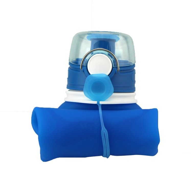 a blue water bottle folder up, the best water bottle in fact.
