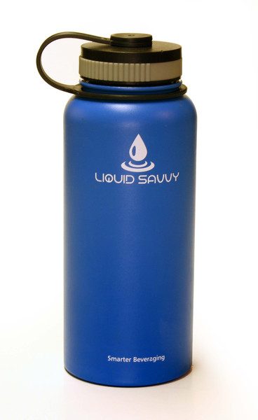 Blue water bottle from liquid savvy