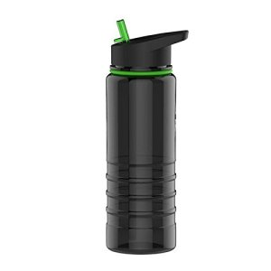 the futuristic water bottle is black and green.