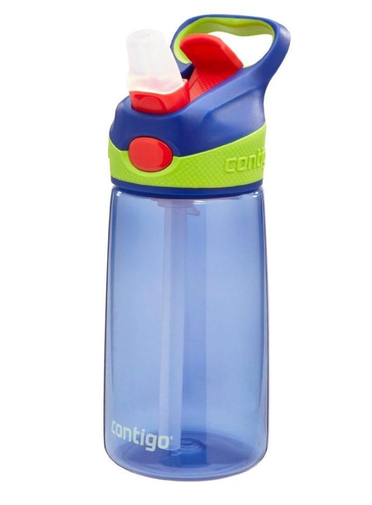 The Contigo water bottle in blue.