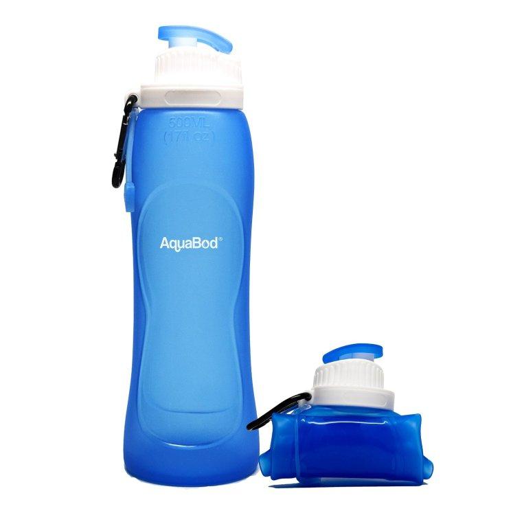 Aquabod water bottle in blue.