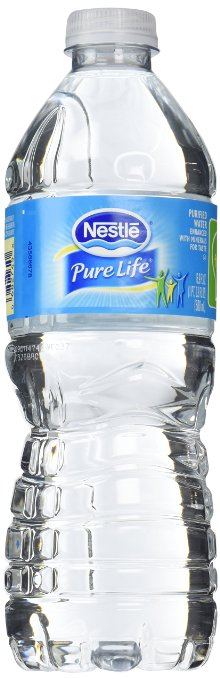 A bottle of Nestle water.