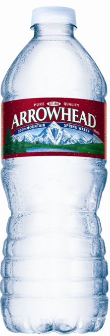 An Arrowhead water bottle.