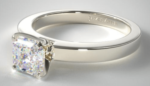 Solitaire Ring Setting With Asscher Cut Diamond