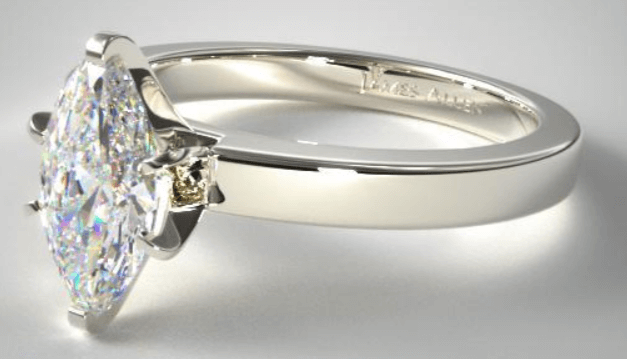Solitaire Ring Setting With Marquise Cut Diamond