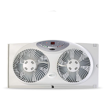 Bionaire Window Fan with Twin 8.5-Inch Reversible Airflow Blades and Remote Control