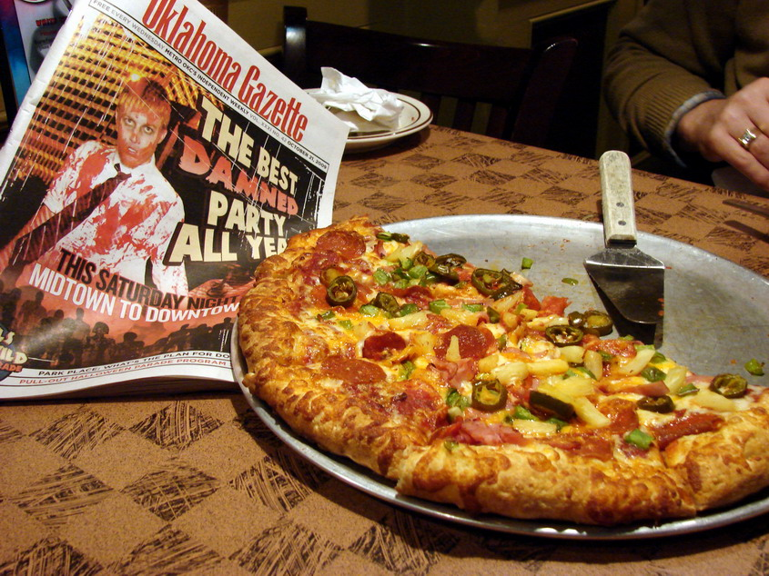 At Hideaway Pizza -- The Gazette Headline Says it All