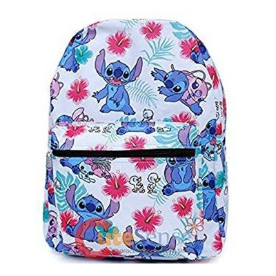 Disney Lilo And Stitch White Allover Print Girls Large School Backpack