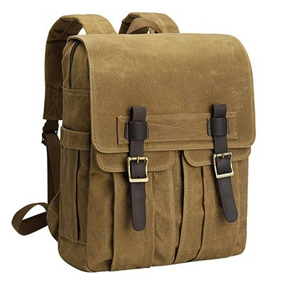 S-Zone Waxed Canvas Waterproof Camera Backpack for DSLR-SLR Cameras