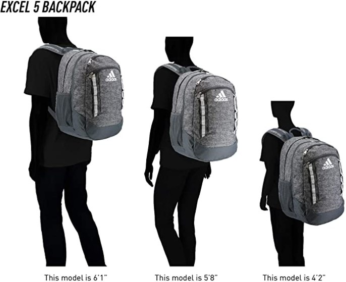adidas excel 5 backpack size guide