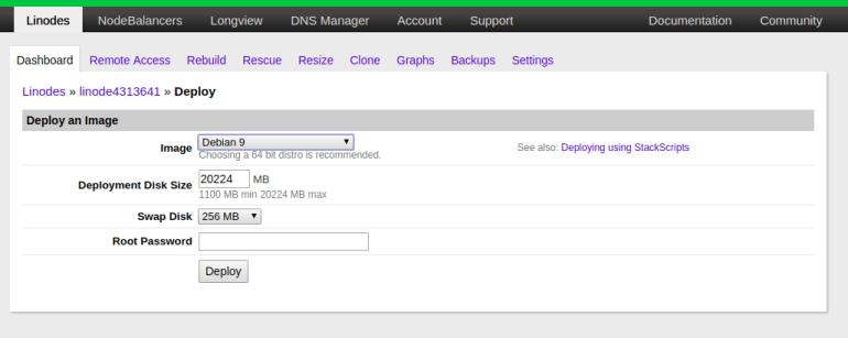 create new cloud server instance on linode