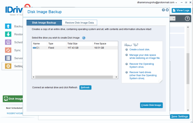 iDrive Tutorial – Create Disk Image Backup on Windows 10