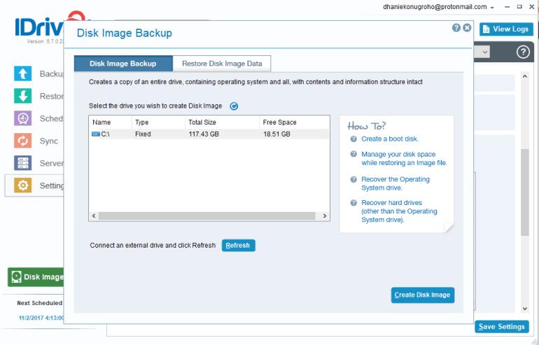 create disk image backup on windows 10 using iDrive