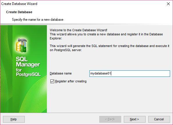 Create New Database using EMS SQL Manager for PostgreSQL