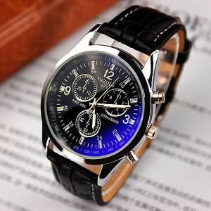 Yazole 271 Men's Leather Strap Wrist Watch