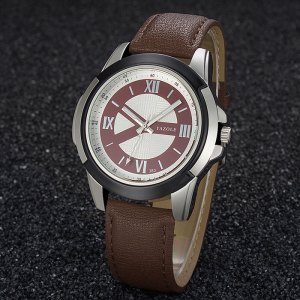 Yazole 383 Men's Leather Strap Wrist Watch - Brown Strap