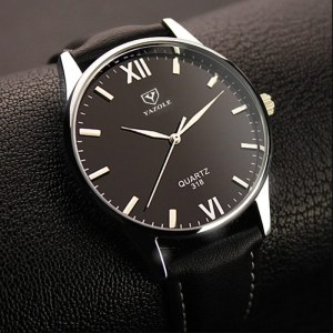 Yazole 318 Men's Leather Strap Wrist Watch