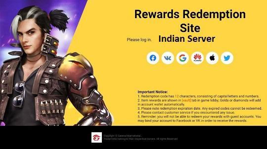 Garena Free Fire India Server Redeem Codes