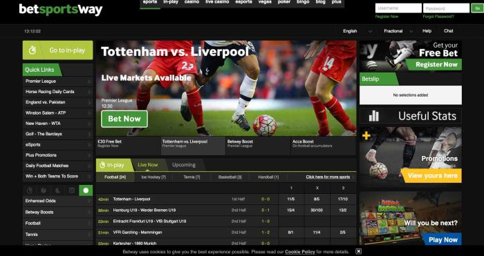 free bets at Betway