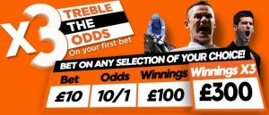 get triple odds on your first bet with 888sport