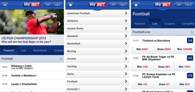 skybet mobile betting app is very easy to use