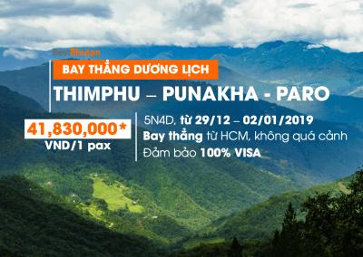 Đón năm mới bình an tại Bhutan – 5N4Đ Thimphu – Punakha – Paro. Trải nghiệm bay thẳng tiện lợi từ TPHCM (29/12/2018 – 02/01/2019)