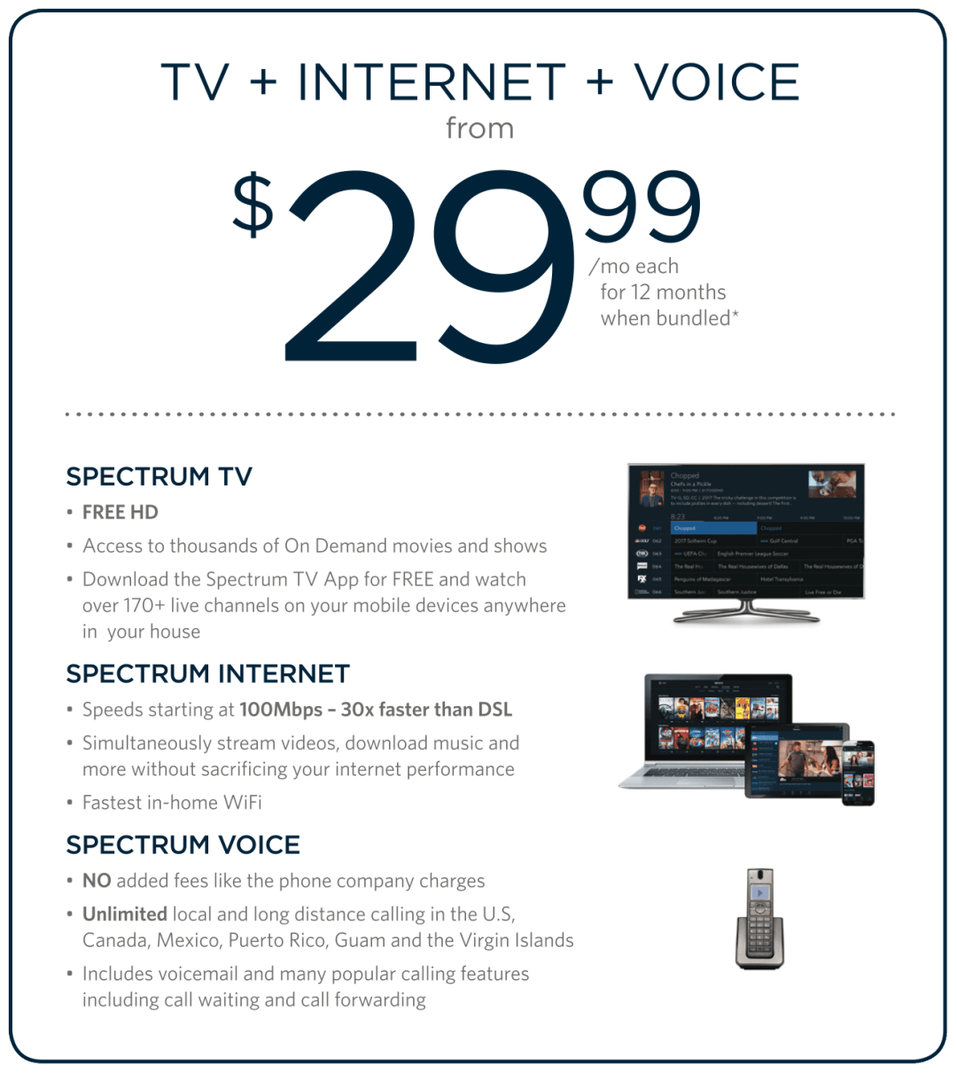 Charter Communications Spectrum Internet, TV, Voice