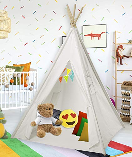 Teepee Tent for Kids | White Kids Teepee Tent | Tipi Tents Indoor Outdoor |  Play Tent 5 Feet Tall - 4 Poles | Customizable Cotton Blend Tent | Large