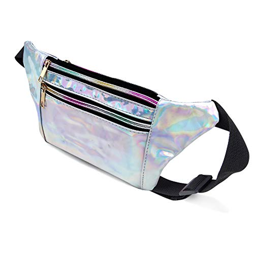 fd8984d4ea8b swelldom Fanny Pack Belt Bag, Holographic Fanny Packs Women Men Kids,  Fashion Waist Pack 3 Pouches Adjustable Strap, Shiny Causal Bags Cute Bum  Bag ...