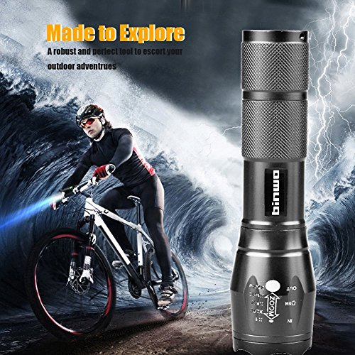 LED Tactical Flashlight, Binwo Super Bright 2000 Lumen XML T6 LED  Flashlights Portable Outdoor Water Resistant Torch Light Zoomable  Flashlight with 5