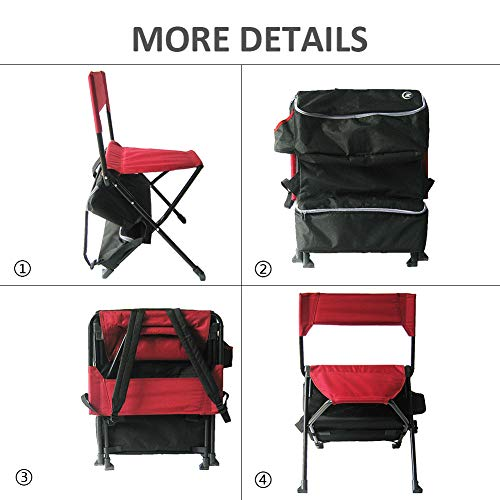 Zenree Folding Backpack Camping Chairs Portable Outdoor Sports Fishing Tripod Chair//Stool with Cooler Bag and Backrest for Traveling//Picnic//Hiking