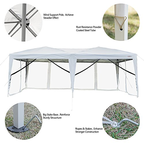 VINGLI Upgraded Ez Pop up Canopy with Netting, 10x20ft Screen House Tent  Mesh Side Wall Roller Bag