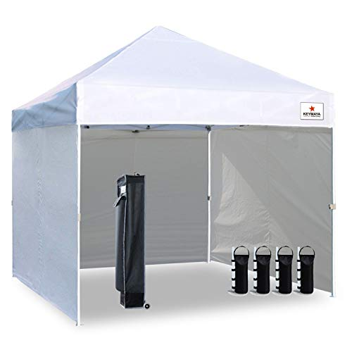 Keymaya 4 Piece Ez Pop Up Canopy Tent Commercial Instant Shelter with 4  Removable sidewalls Bonus Weight Bag