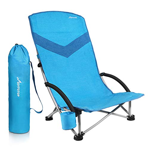 MOVTOTOP Folding Beach Chair, 【Newest 2019】 Portable Outdoor Backpack  Camping Chair, High Back Rest Beach Chairs with Carry Bag Heavy Duty 300  lbs ...