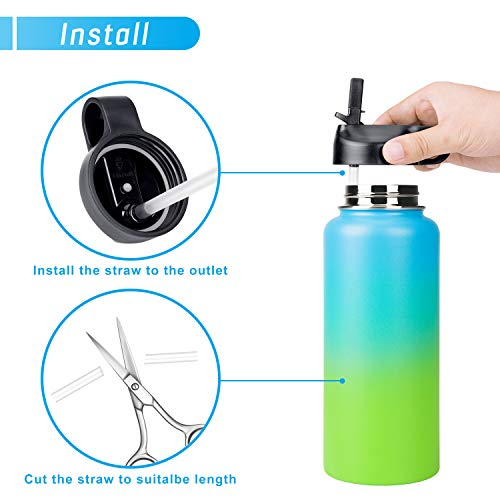 Enjoyee Straw Lid for Hydro Flask Wide Mouth Water Bottle, Bonus 2 Straws  and 2 Straw Brushes, Compatible with Most Brands Wide Mouth Water Bottle (A)