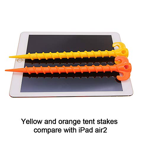 """10 Plastic Canopy Tent Spiral Pegs Beach Tent Stakes Heavy Duty Screw Shape 8/"""""""
