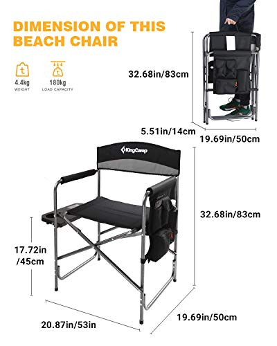 KingCamp Heavy Duty Camping Folding Director Chair Oversize Padded Seat with Side Table and Side Pockets Supports 396 lbs