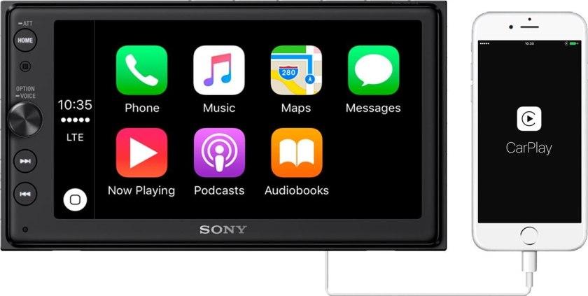 Sony XAV-AX100 6.4 Car Play Android Auto Media Receiver Best Buy Double Din Car Stereo