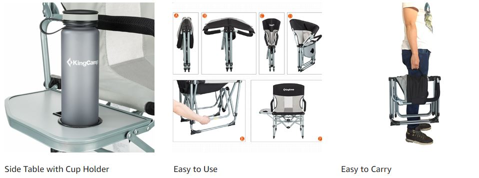 KingCamp Heavy Duty Compact Camping Folding Mesh Chair 1