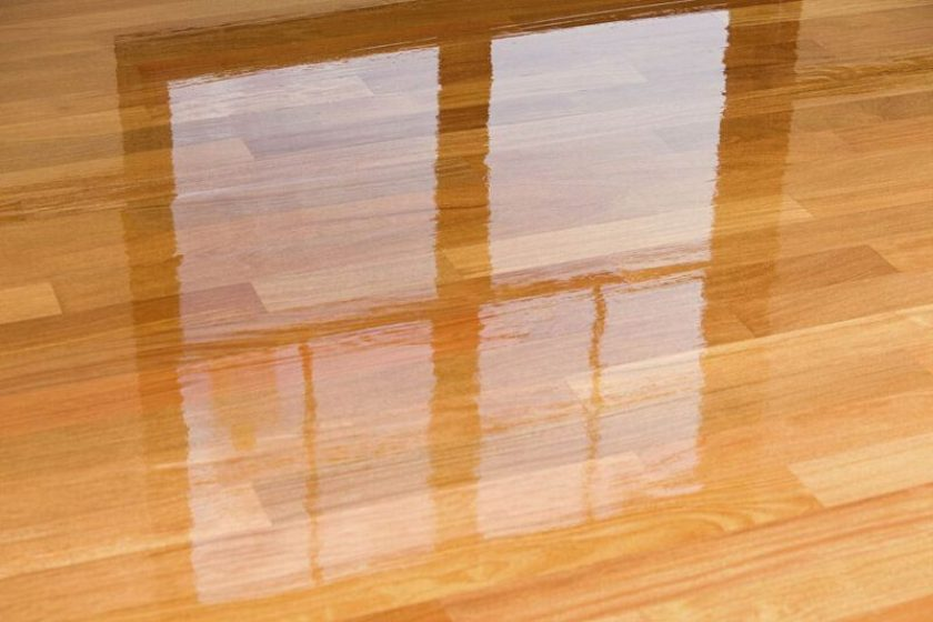 Applied Stain with oil based polyurethane finish in hardwood floor