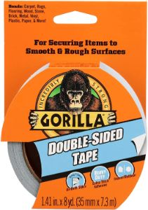10. Gorilla Double-Sided Tapefor Smooth & Rough Surfaces - Multipurpose Indoor-Outdoor Use