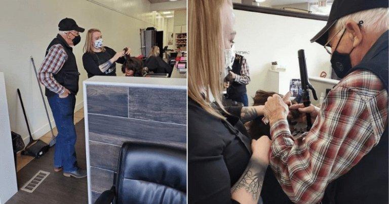 À 79 ans, il se rend dans une école de beauté pour apprendre à coiffer et maquiller son épouse atteinte de troubles de la vision