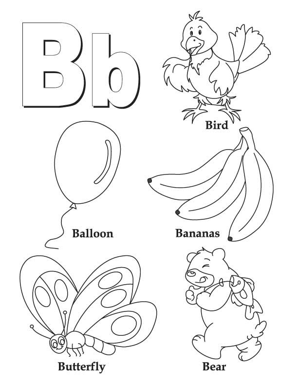 coloring book letter b coloring page for kids best coloring pages