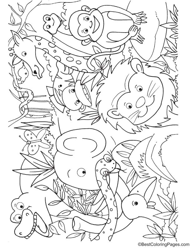 Animals In Jungle Coloring Page Download Free Animals In Jungle Coloring Page For Kids Best Coloring Pages