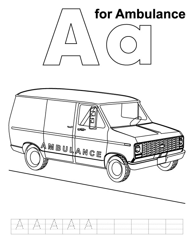 a for ambulance coloring page with handwriting practice download