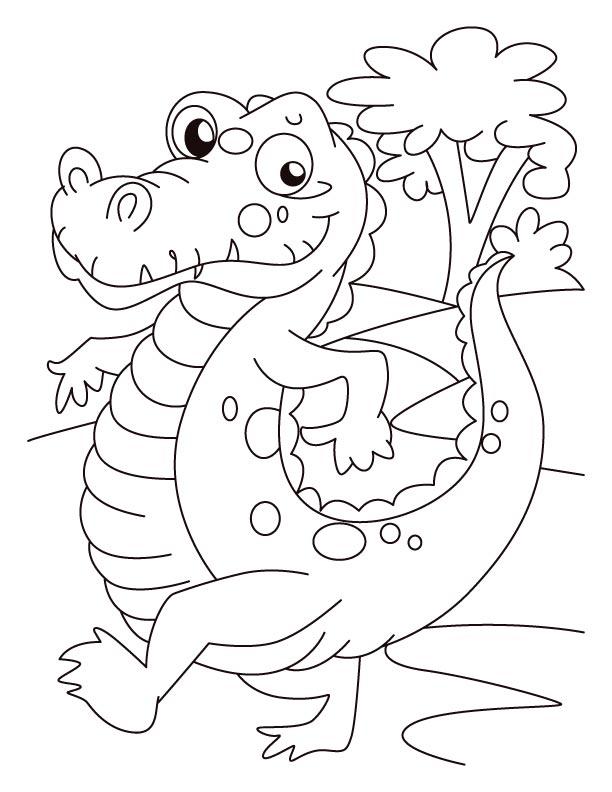 alligator on evening walk coloring pages download free alligator
