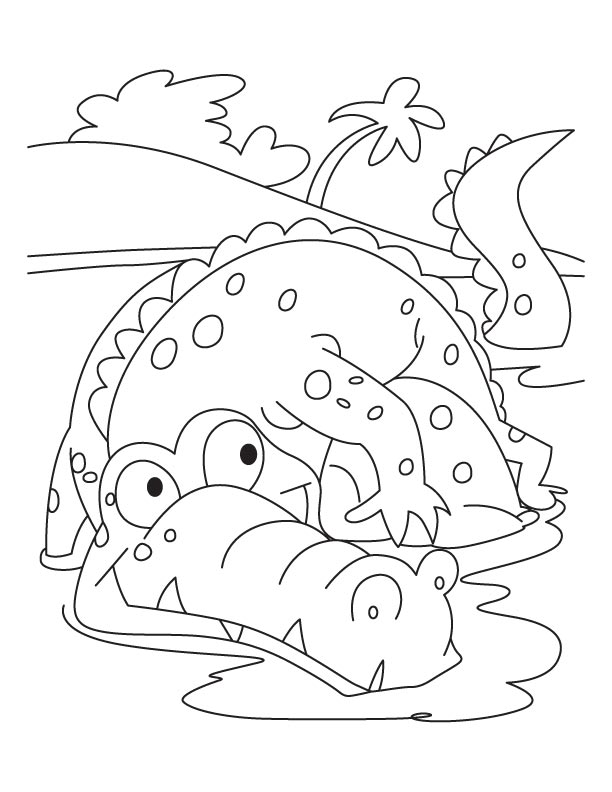 alligator coloring page for kids frightened alligator coloring pages