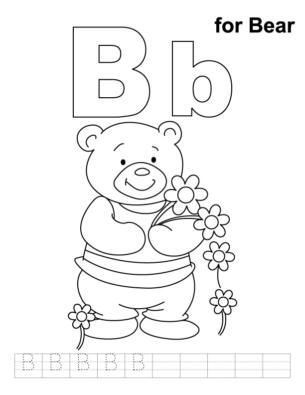 for bear coloring page with handwriting practice download free b