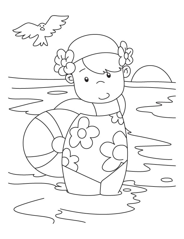 boy and girl by the sea colouring pages 2