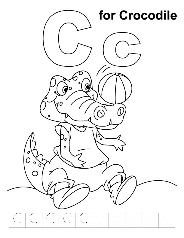 c for crocodile coloring page with handwriting practice download